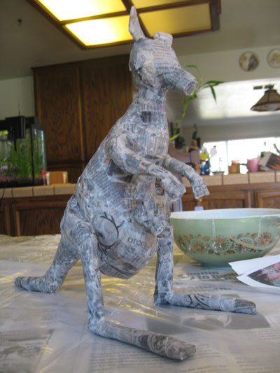 papier mache kangaroo and joey