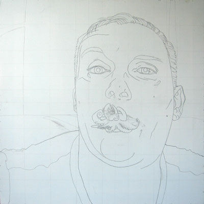painting of Vlady with octopus Lips - step 1