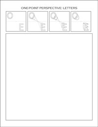 one-point perspective worksheet: letters