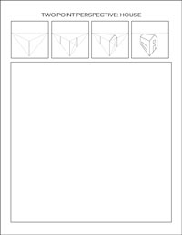 two-point perspective worksheet: house