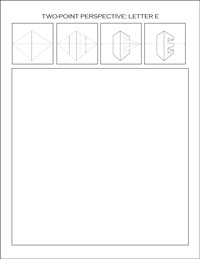 two-point perspective worksheet: Letter E