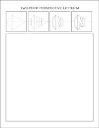 two-point perspective worksheet: Letter M