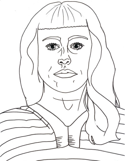 self-portrait line drawing