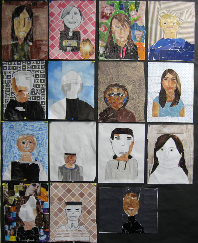 Student self-portrait collage