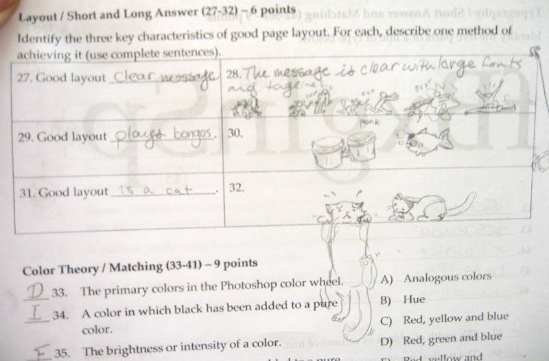 Creative Test Answers. Here are three snapshots from tests I gave in graphic